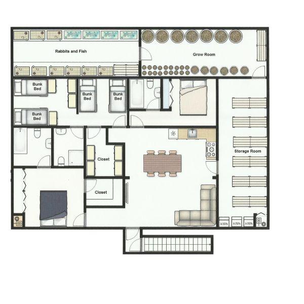 Underground bunker floor plans home fatare for Underground house plans blueprints