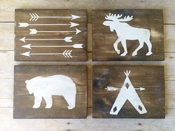Nursery Decor | Teepee Reclaimed Wood Sign | Moose Reclaimed Wood Sign | Bear…