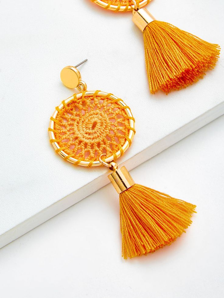 Shop Knit Detail Tassel Drop Earrings online. SheIn offers Knit Detail Tassel Drop Earrings & more to fit your fashionable needs.