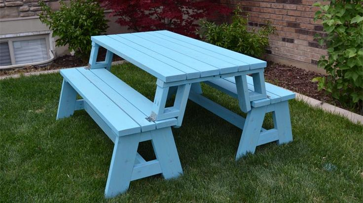 Build an easy DIY picnic table that doubles as 2 benches. 1 set costs about $80 to make.