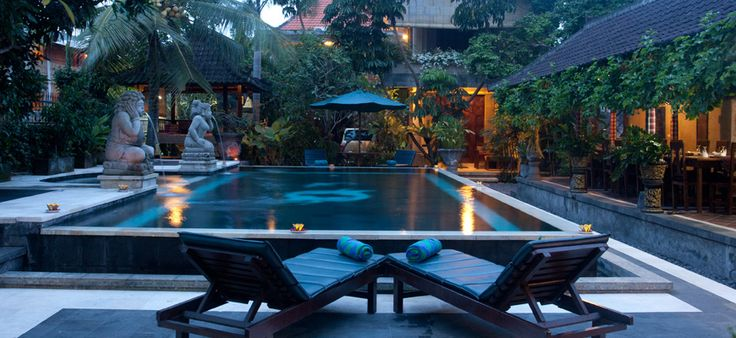 The pool / inner courtyard at Ubud Aura Retreat Center, hosting Zuna Yoga's September 2014 200hr teacher training