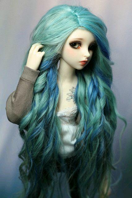 Blue and green pretty kawaii doll