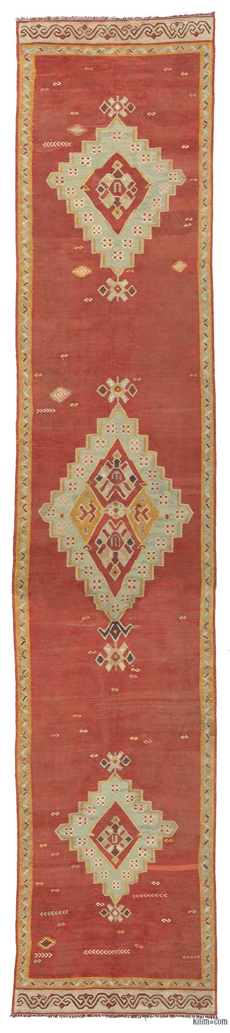 K0027853 Red Vintage Ushak Kilim Runner   Kilim Rugs, Overdyed Vintage Rugs, Hand-made Turkish Rugs, Patchwork Carpets by Kilim.com