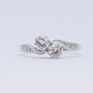 Art Deco Two Stone Diamond Twist Ring