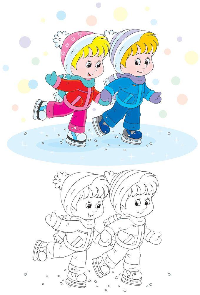 手牵手的儿童卡通画