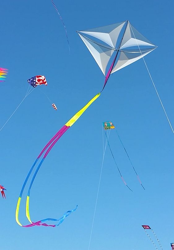 Besides this unusual Diamond kite, there appear to be several large parafoil kites in the air as well. T.P. (my-best-kite.com)
