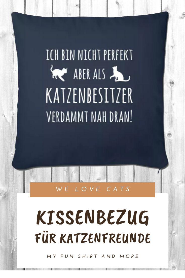 Katzen Spruch – Lustige Katzenbesitzer Spruch – Sofakissenbezug 44 x 44 cm – Katzen T-Shirts und mehr