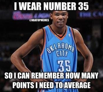 LOL KD with 11 straight 30 point games Credit: NBA Top Memes - http://weheartnyknicks.com/nba-funny-meme/lol-kd-with-11-straight-30-point-gamescredit-nba-top-memes