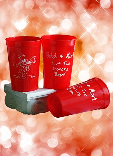 Dancing the night away with our original Dancing Couple-Male design. Printed on a sturdy 22 ounce red stadium cup, these cups are dishwasher safe & will be used for years. Available in many colors & inks. No limit on text and no set-up charges. Priced from $.79 to $1.09, stadium cups can save the world from styrofoam! Our portfolio of gay and lesbian designs is growing every day. Visit www.favorsyoukeep.com or call 512.323.0600. #gayweddingideas #lgbtweddingfavors