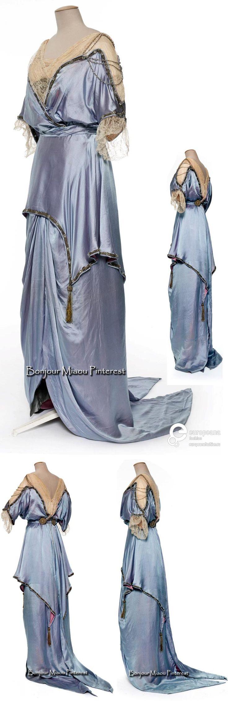 Evening dress ca. 1912–13. Silk satin, machine lace, linen. Satin charmeuse…