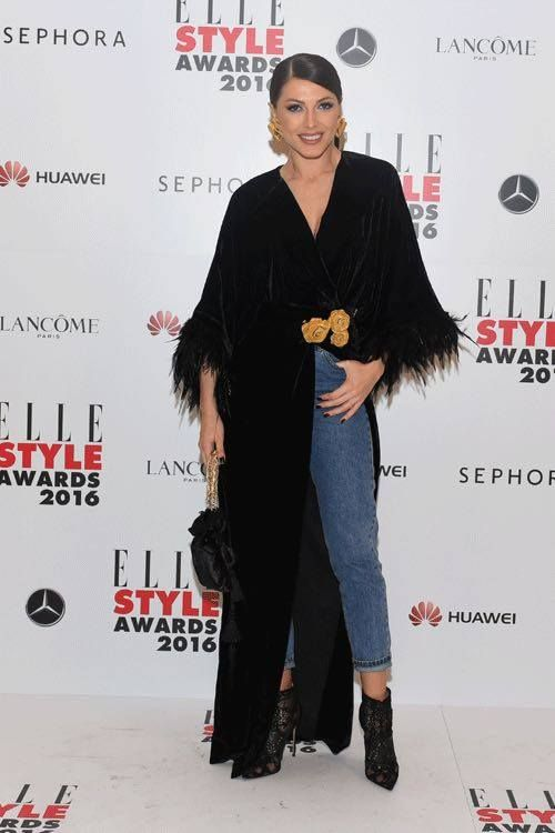 Beautiful Ilinca Vandici is wearing a LOULOU custom made kimono dress at Elle Style Awards