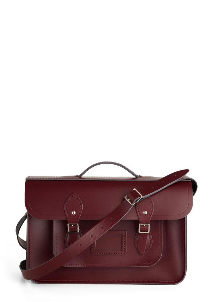 Cambridge Satchel Upwardly Mobile Satchel in Oxblood - 15 by The Cambridge Satchel Company  - Red, Solid, Buckles, Pockets, Casual, Vintage Inspired, Scholastic/Collegiate, International Designer, Graduation, Leather