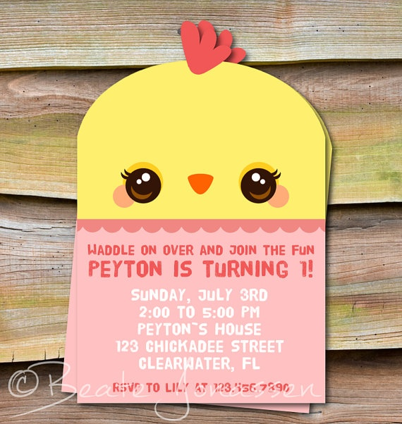 Printable Chicken Birthday Invitation by CuteMemories on Etsy, $11.00