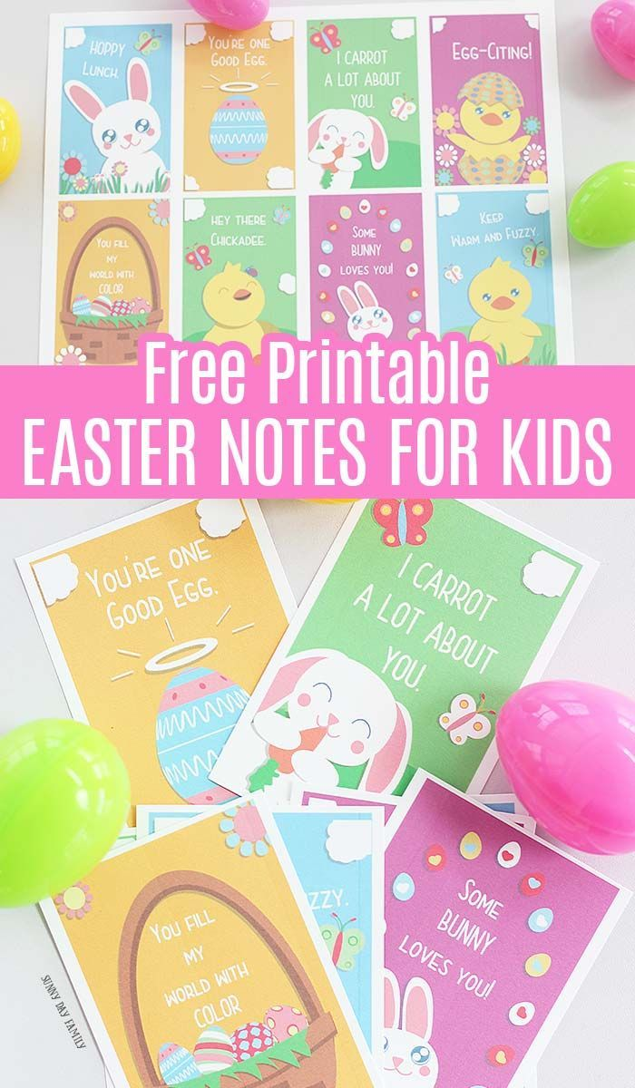 8 Adorable Easter Notes For Kids Free Printables Printables Free Kids Easter Printables Free Easter Kids