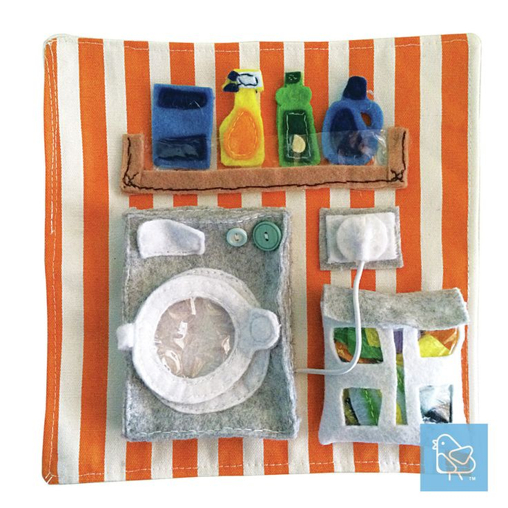 DIY quiet or busy book Laundry page. Complete with power point to plug in and out, laundry basket for clean and dirty clothes, washing powder and solution, and a 3D washing machine so can fit more clothes in it.