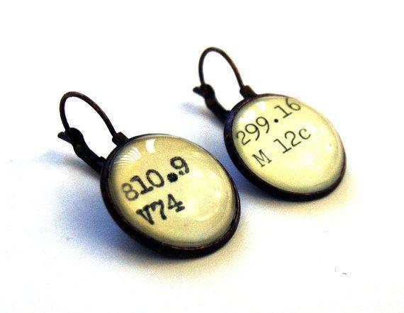 Dewey Decimal Vintage Card Catalog Copper Lever Back Earrings. Do want.