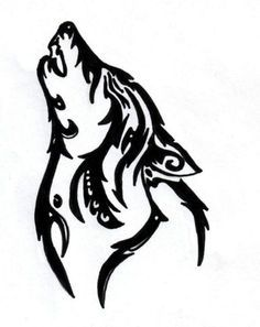 simple tribal wolf tattoo - Google Search