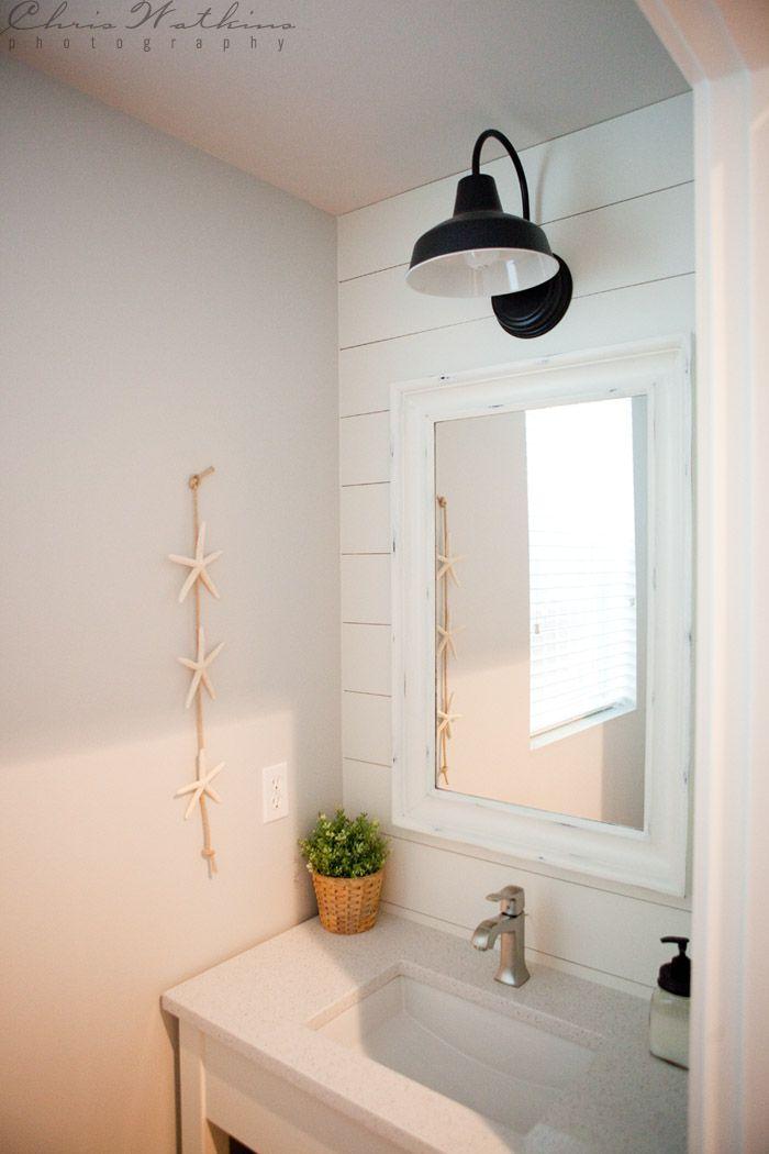 Bathroom Wall Lamp: Barn Wall Sconce Lends Farmhouse Look To Powder Room