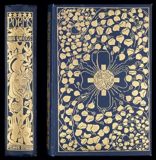 Binding, upper cover and spine, from Poems / by W.B. Yeats published in 1912 which is part of Alexander Turnbull Library Rare Books collection.