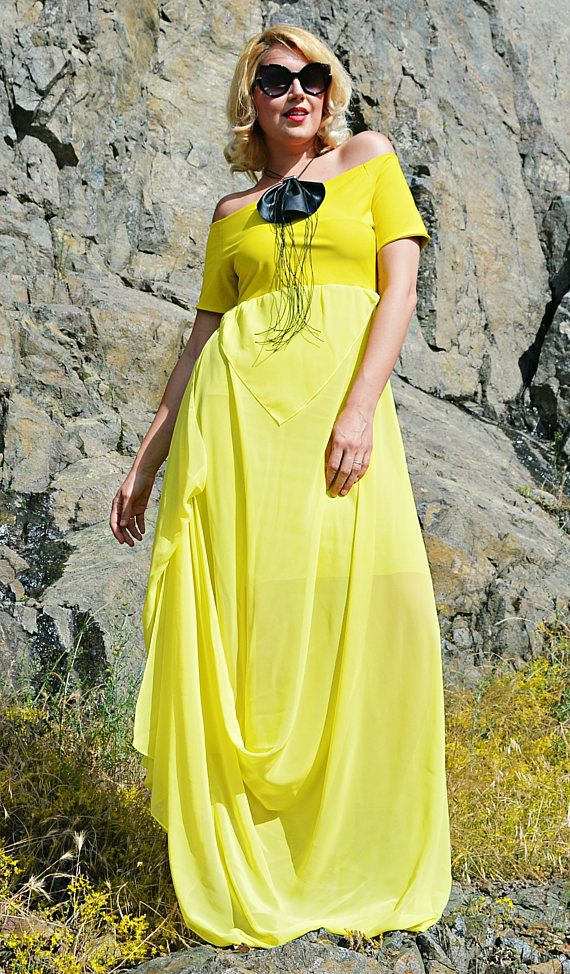 Extravagant Summer Dress TDK264, Long Summer Dress, Yellow Mustard Maxi Dress, WILDFLOWER
