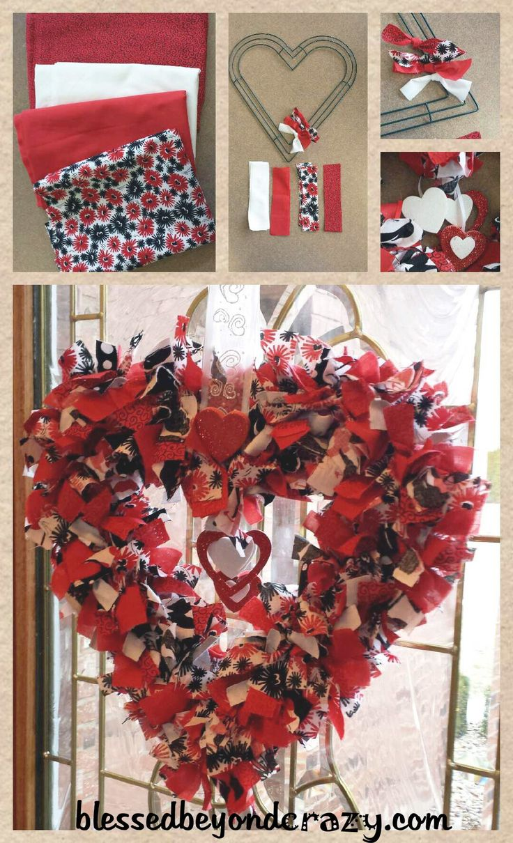 Super Easy DIY Valentine's Day Rag Wreath. Purchase a heart shaped wire frame, (most craft stores have these around Valentine's Day). Cut strips of various kinds of fabric, (I used 5 1/2″ strips in mine but you can use whatever length you like. You can also use strips of ribbon and/or tulle along with your …