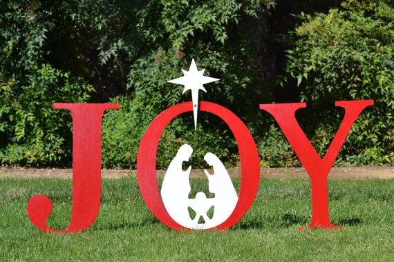 Joy nativity outdoor christmas holiday yard art sign for Outdoor christmas signs
