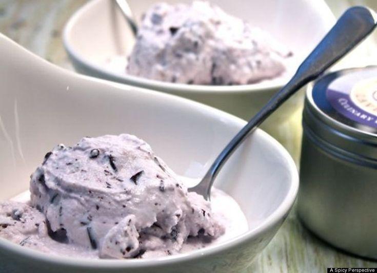 Lavender Dark Chocolate Chip Ice Cream!!!!: Desserts, Dark Chocolate Chips, Chocolates Chips Ice, Chocolates Ice, Frozen Treats, Ice Cream Recipes, Lavender Dark, Icecream, Dark Chocolates Chips