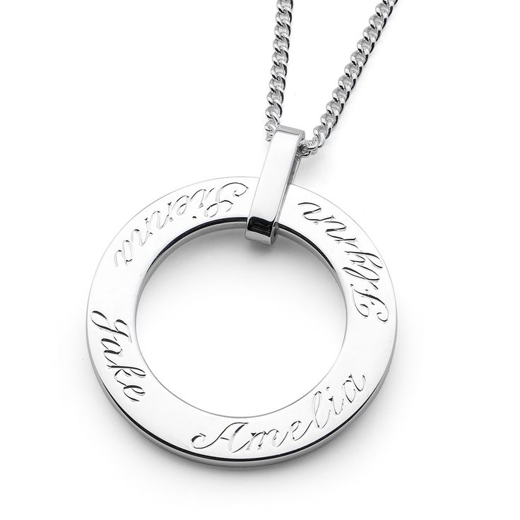 The Family Pendant | Heirloom Jewellery Design This classic family pendant is an heirloom piece that has been designed to tell the story of your family. Its clean and simple design is complemented with classic script hand engraving. The bail allows the pendant to spin freely creating movement and interest to the piece.