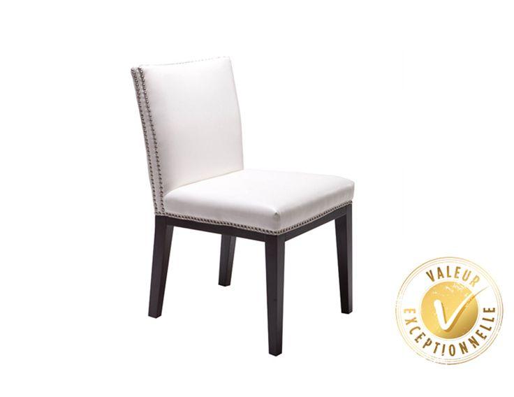 Chaise clout e de style contemporain en cuir blanc choix for Chaise salle a manger quebec