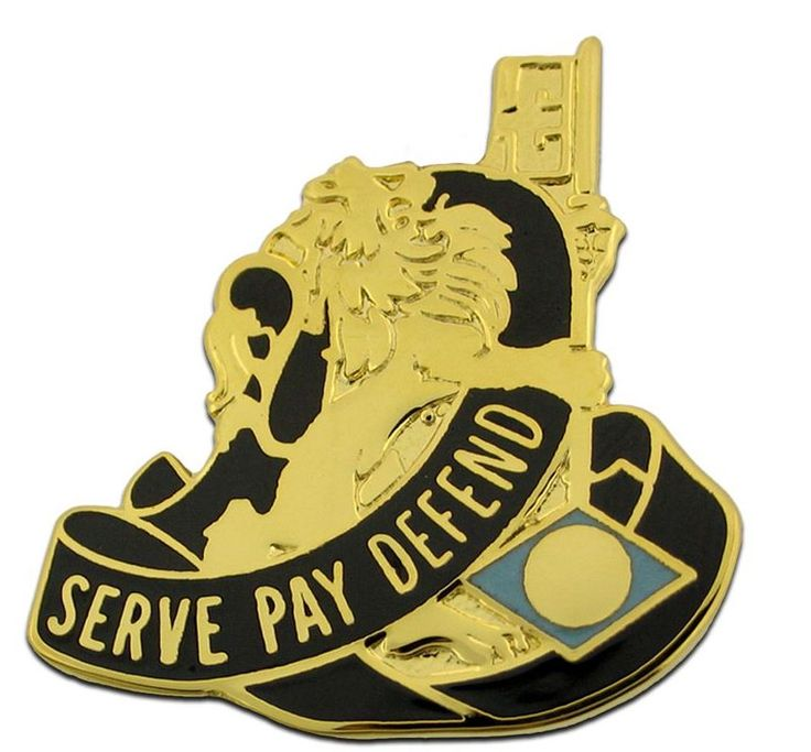 US ARMY UNIT CREST 326TH FINANCE GROUP RIGHT & LEFT MOTTO: SERVE PAY DEFEND 1-PAIR