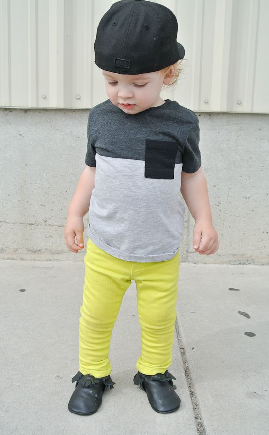 Hanes' outfit:  top: H  pants: Old Navy similar and here  moccs: c/o Freshly Picked