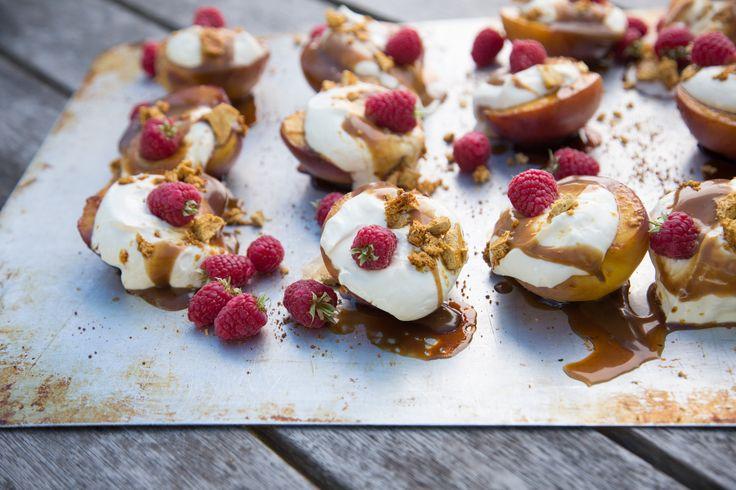 Nectarine Splits With Coconut Caramel & Hokey Pokey THE BOX - Ripe Recipes
