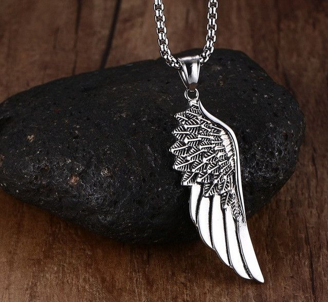 Stainless Steel Vintage Gothic Feather Angel Wing Pendants Necklace