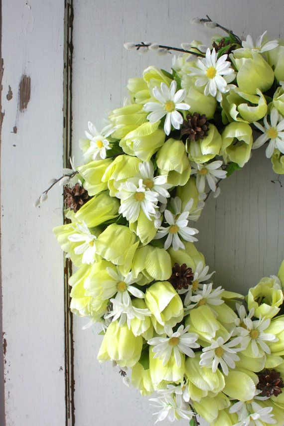 Yellow Tulip and Pussywillow Wreath Easter by TheTangledTreehouse