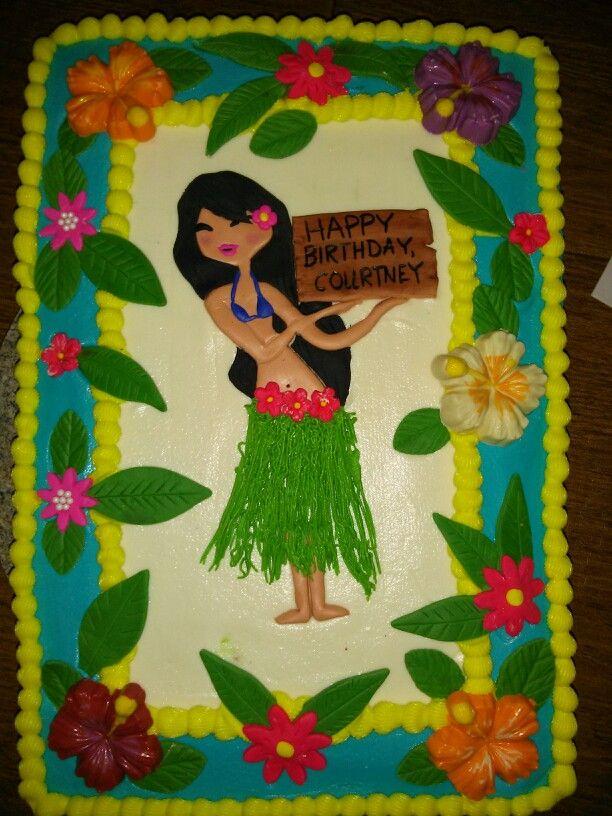 Hula girl luau cake