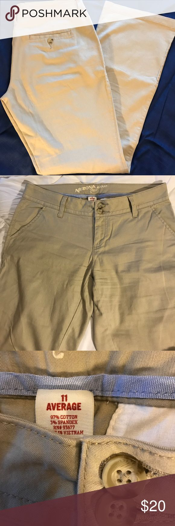 Arizona khaki pants Khaki color pants. Juniors size 11 average. Slant pockets. Only worn a couple of times because they just didn't feel like they fit right. EUC. Smoke free home. Arizona Jean Company Pants Trousers