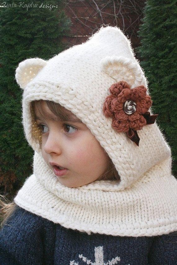Free Crochet Pattern Bear Hood : Knitting PATTERN Finnie Bear Hooded Cowl-Knitting pattern ...