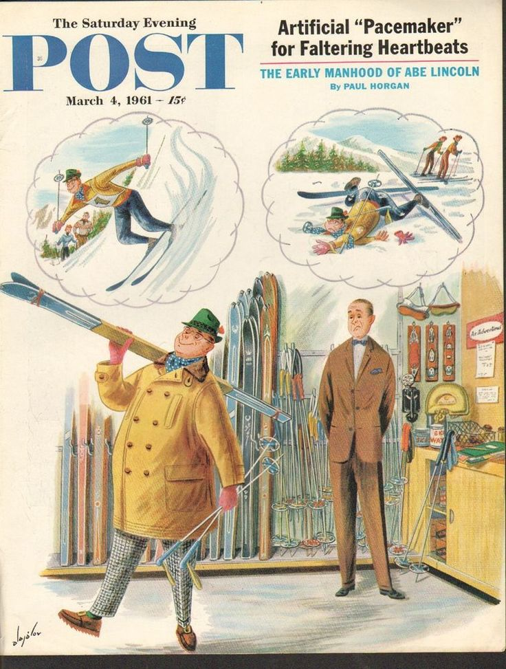 $10....MARCH 4 1961 SATURDAY EVENING POST magazine cover print - SKIING STORE