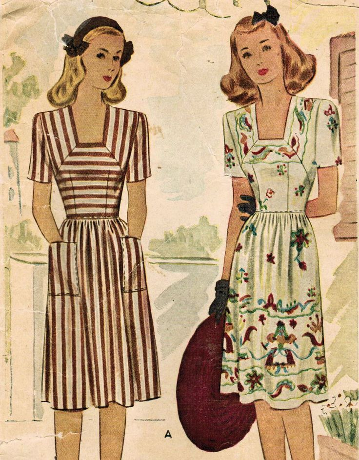 1940s McCall 5598 Vintage Sewing Pattern Misses' Dress Size 16 Bust 34