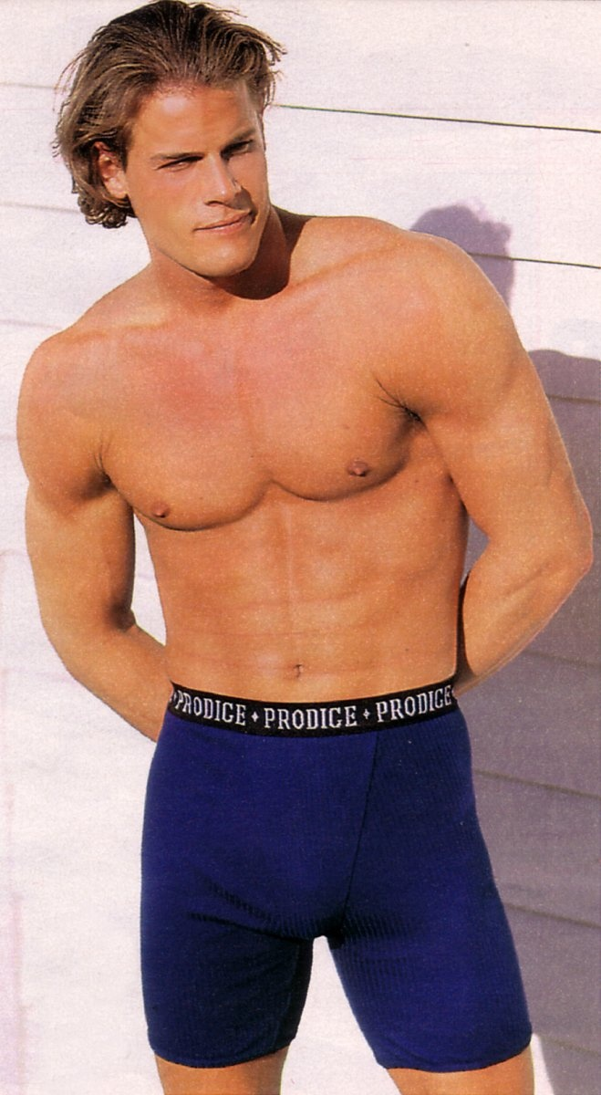 Brett Hollands for Sears Canada (Summer 1996) #BrettHollands #Canadian #pecs #abs #delts #muscles #underwear #boxers #boxerbriefs #blue