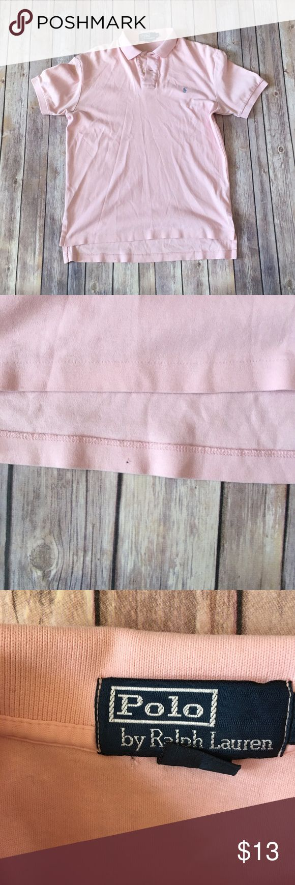 Polo Ralph Lauren Shirt Size Small Polo Ralph Lauren Pink Polo Shirt 100% Cotton Small hole near bottom hem, and near inside tag. Both Pictured No other flaws or discoloration Polo by Ralph Lauren Shirts Polos
