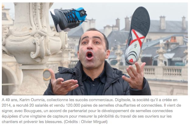 Oho! Thank you La Tribune for the #title and the #article! :) -> Now: The #interview with #Karim #Oumnia. Enjoy! #Digitsole #SmartShoe #RunProfiler #WarmSeries #Wearables #CES2017 #IoT