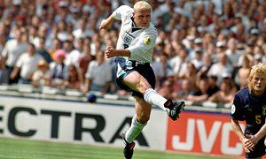 Paul Gascoigne scores for England at Euro 96 in spectacular style as Scotland's Colin Hendry can only look on