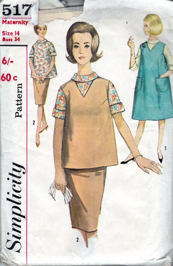 c0e196745b4 Simplicity 5179 Womens A line Maternity Jumper Top Skirt Blouse 60s Vintage Sewing  Pattern Size 14 Bust 34 Inches UNUSED Factory Folded