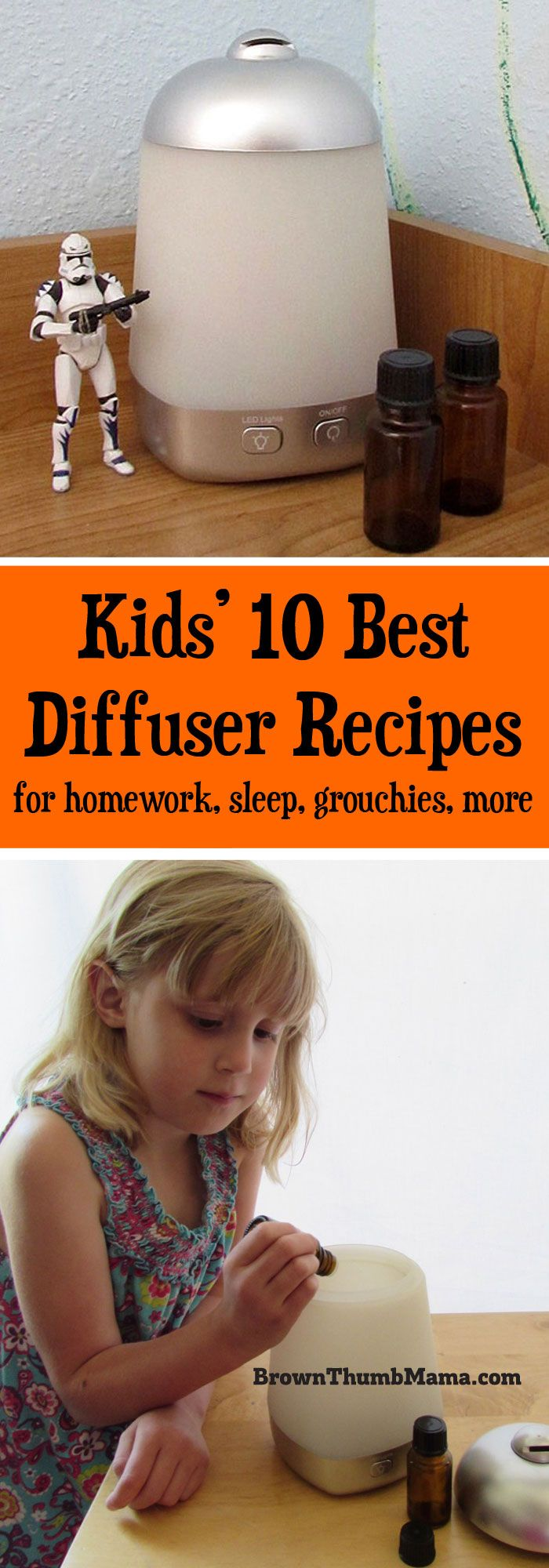 Kids love essential oils! These are the 10 best #diffuser recipes for #kids. These blends help at homework time, for #sleep, grouch-busting, and more.