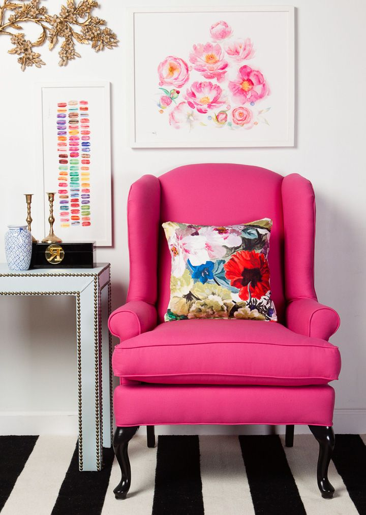 pink chair and carpet stripes