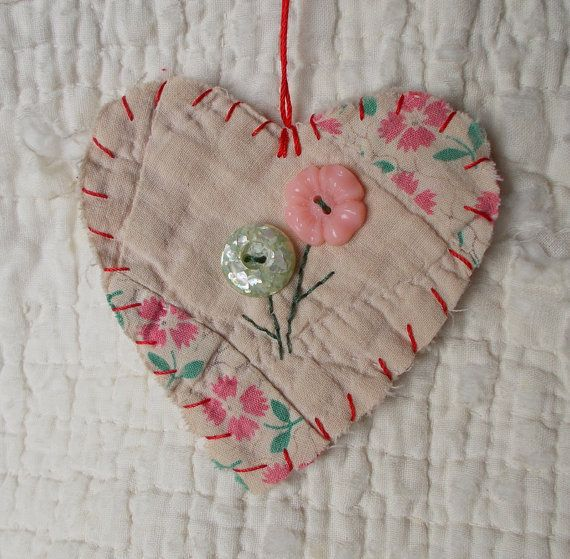 Sweet as can be for a shabby chic Christmas tree, or maybe for gift tags -- not necessarily for Christmas.   ///////  BLOOMIN BUTTONS Heart Snippet Ornament  Stitched by wordzoflife,