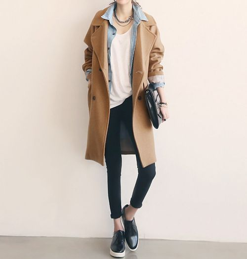 chambray + loose white tee + camel coat + slip ons