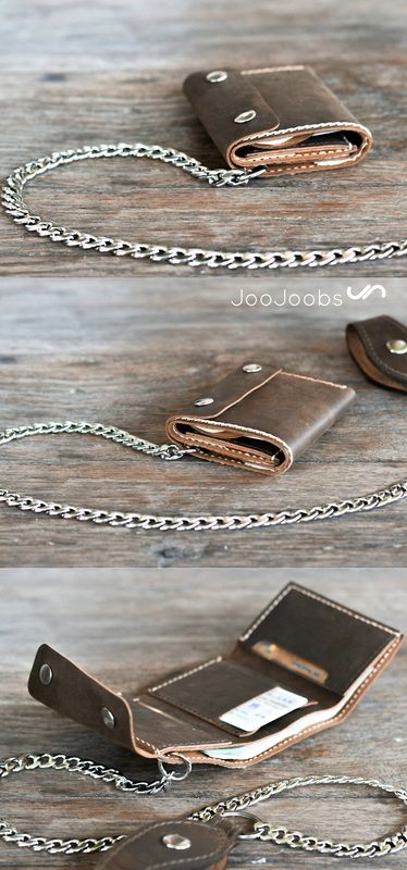 Hook it up! Mens trifold wallet with chain. Handmade, full grain leather with your name on it. joojoobs.com