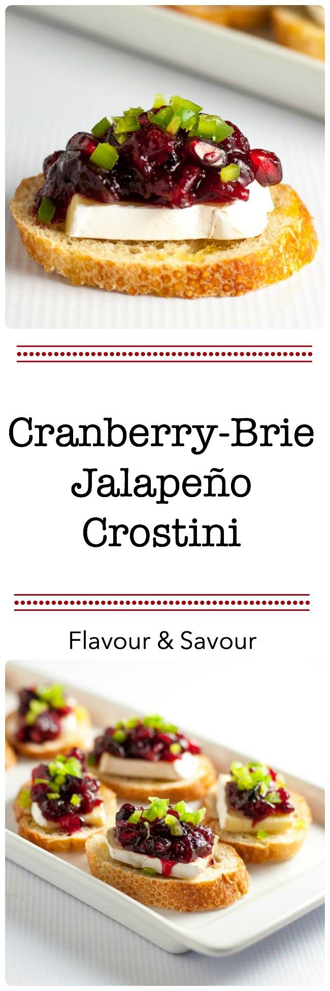 These Cranberry Jalapeño Brie Crostini Appetizers add a festive touch to your party and they're a great way to use leftover cranberry sauce!  www.flavourandsavour.com